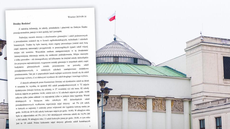 """""""Drodzy Rodzice! Z radością informuję, że szkoły pracują normalnie"""". Kuratorzy oświaty walczą o Sejm"""
