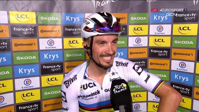 Alaphilippe po wygraniu 1. etapu Tour de France