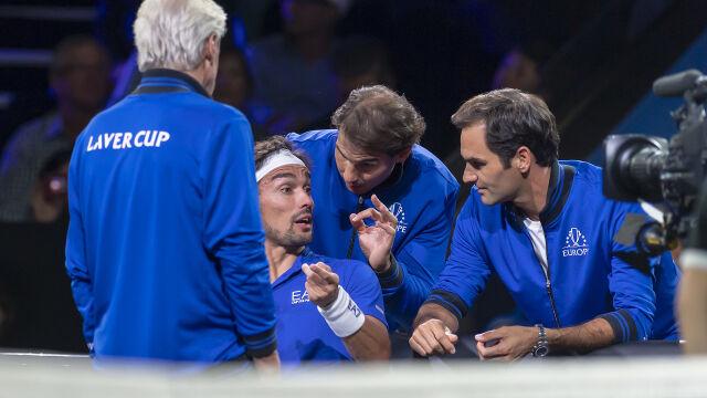 Federer i Nadal w roli trenerów. Włoski tenisista nie wyglądał na szczęśliwego