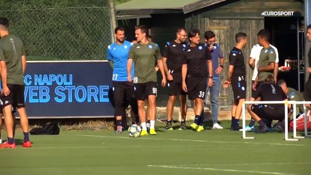 Milik i Zieliński na treningu Napoli przed starciem z Liverpoolem