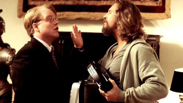 """Philip Seymour Hoffman w """"Big Lebowski"""", 1998 rok (z Jeffem Bridgesem)"""