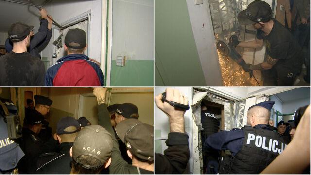 Zabarykadowali się w mieszkaniu, lokatorka spędziła noc na korytarzu.