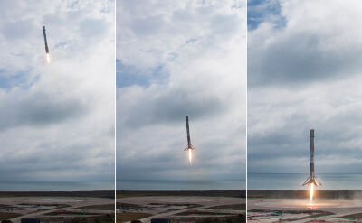 Lądowanie rakiety Falcon 9 na Przylądku Canaveral