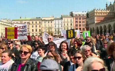 Demonstracje poparcia dla nauczycieli w Krakowie