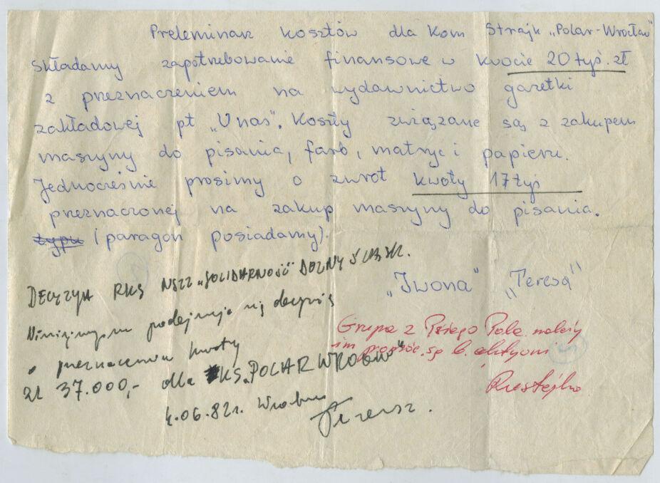 Jedna z próśb napisana na cienkiej bibułce –od tajnej komisji zakładowej we wrocławskim Polarze