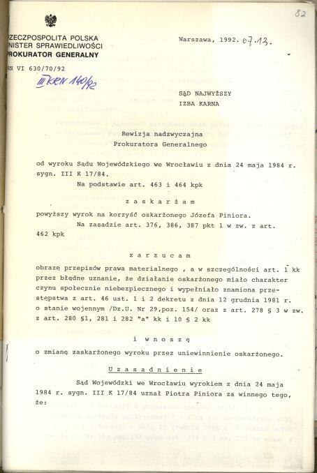 Rewizja nadzwyczajna prokuratora generalnego od wyroku, na jaki skazano Józefa Piniora w 1984 roku