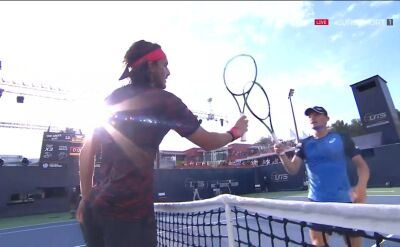 Skrót meczu Tsitsipas - Goffin w półfinale turnieju Ultimate Tennis Showdown