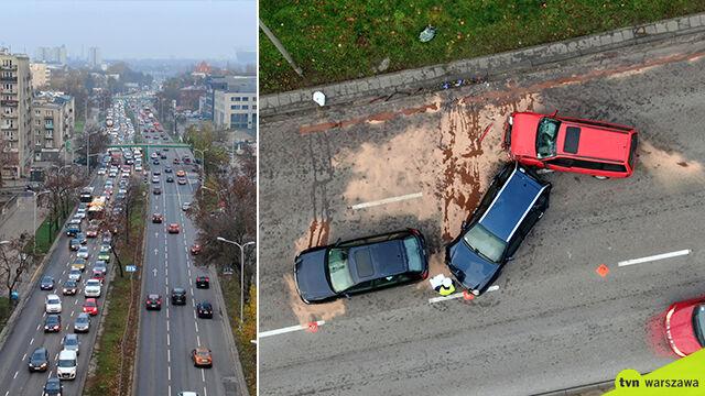 Zderzenie kilku aut na ważnej arterii, korek po horyzont