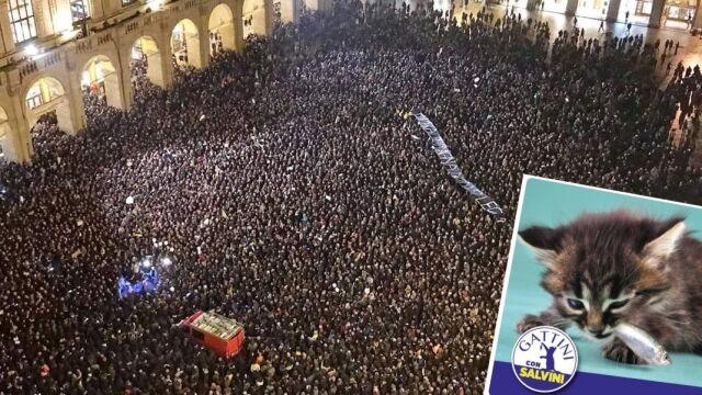 """Tysiące """"sardynek"""" protestują. Salvini: czy wasze kociątka lubią małe rybki?"""