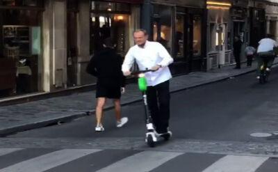 """""""Ekowycieczka"""" Tuska po Paryżu. Jeździł na hulajnodze"""