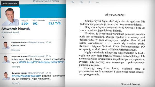 Sławomir Nowak złożył mandat poselski