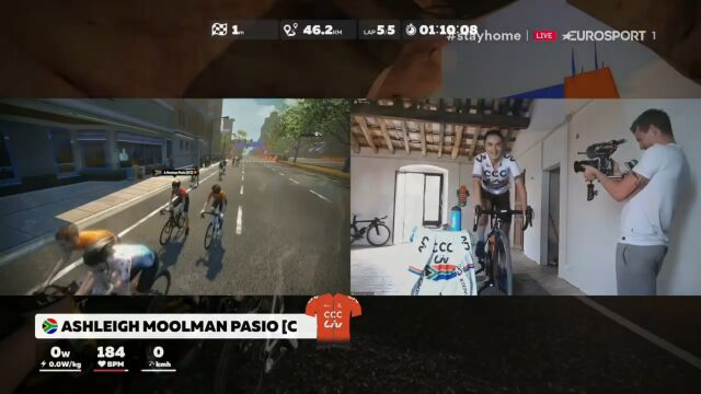Kolarki CCC-Liv zdominowały 2. etap Zwift Tour for All. Triumf Moolman Pasio