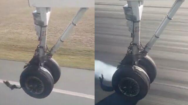 W trakcie lotu pękła opona