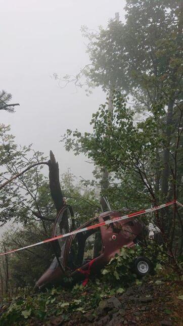Wiatrakowiec zahaczył o drzewa i runął na ziemię