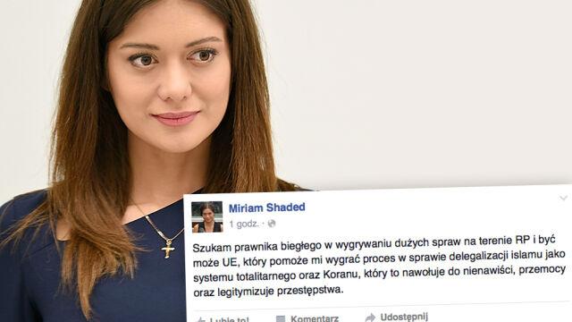 Kandydowała z list KORWiN do Sejmu, teraz chce zdelegalizować islam