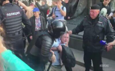 Brutalna akcja policji podczas protestów opozycjo w Moskwie