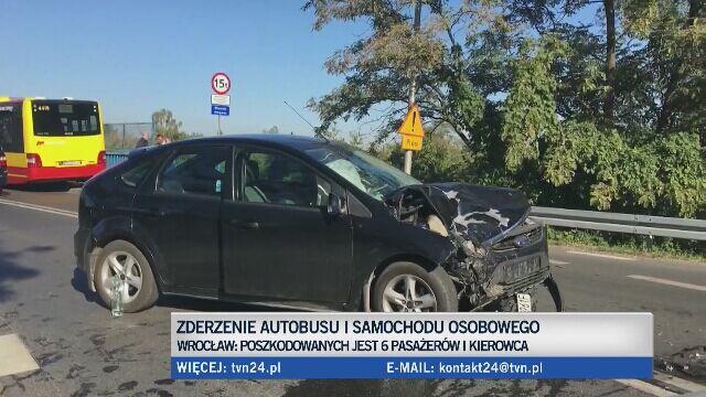 """""""Nie ustąpił pierwszeństwa pojazdowi komunikacji miejskiej"""". 6 osób poszkodowanych"""