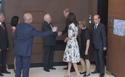 The royal couple visited the Europejskie Solidarity Centre and met Lech Wałęsa