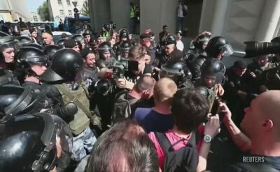 Starcia protestujących z policją w Moskwie