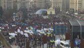 Na Majdanie demonstrują w związku z wizytą prezydenta na szczycie w Paryżu