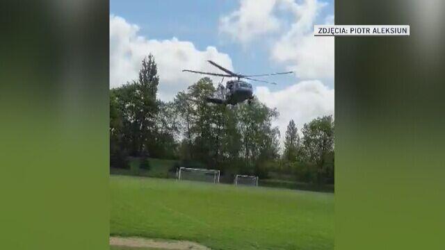 Minister Brudziński wylądował na boisku piłkarskim i przerwał mecz