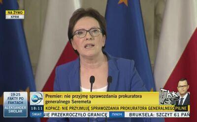 Ewa Kopacz ogłasza dymisje