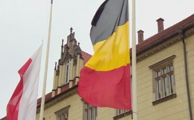 Po zamachach w Brukseli: flaga Belgii przed wrocławskim ratuszem opuszczona do połowy masztu