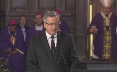 Bronisław Komorowski wygłosił przemówienie na pogrzebie profesora Władysława Bartoszewskiego