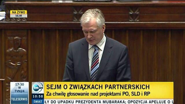 Sejm nie zgodził się na związki partnerskie. Premier odciął się od Gowina