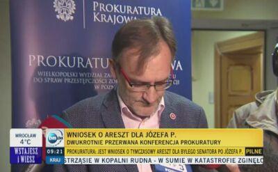 Emocje prokuratora podczas ogłaszania decyzji o wniosku aresztowym dla Józefa Piniora