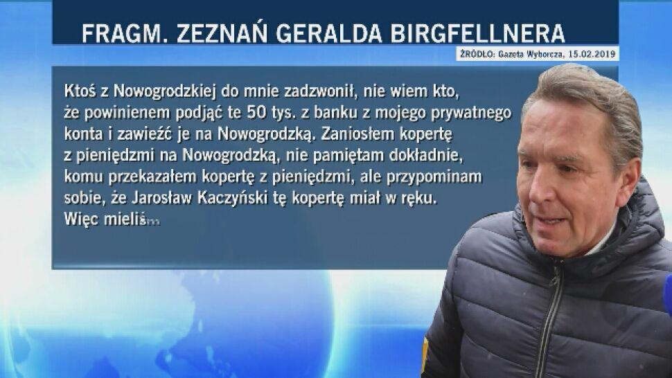 """""""Wyborcza"""" publikuje zeznania Birgfellnera: Kaczyński nakłonił mnie do wręczenia 50 tys. zł w kopercie"""