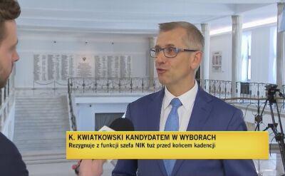 Kwiatkowski rezygnuje z funkcji prezesa NIK. Powodem start w wyborach