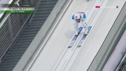 Halvor Egner Granerud w 1. serii konkursu MŚ na normalnej skoczni w Oberstdorfie