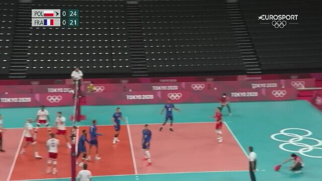Tokio. Siatkówka. Polska-Francja. Polacy wygrali 1. seta w ćwierćfinale