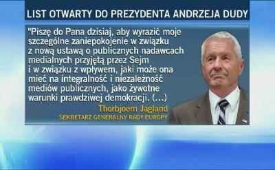 List otwarty sekretarza generalnego Rady Europy do Andrzeja Dudy
