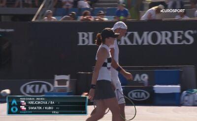 Skrót meczu Świątek/Kubot - Krejcikova/Ram w 2. rundzie miksta Australian Open