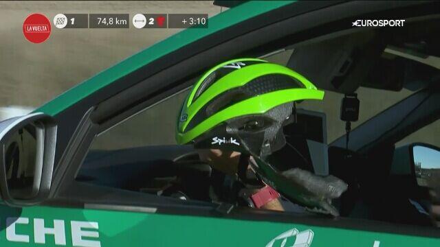 Tak wyglądał kask Hectora Saeza po kraksie na trasie 9. etapu Vuelta a Espana