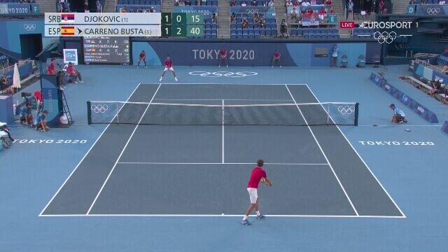 Tokio. Tenis: Djokovic połamał rakietę w 3. secie meczu z Carreno Bustą