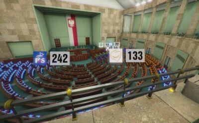 Wieczór wyborczy na sali sejmowej - wirtualne studio TVN24