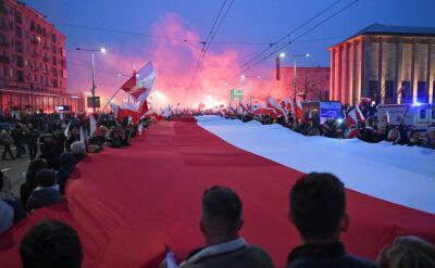 Wulgarne okrzyki, spalona flaga UE i atak na dziennikarkę. Służby identyfikują sprawców