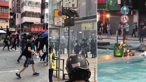 Koktajle Mołotowa, gaz łzawiący, zniszczone budynki. Starcia z policją w Hongkongu