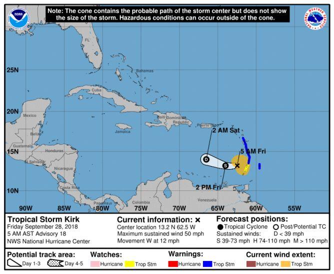 Prognozowana trasa burzy tropikalnej Kirk (NHC, NOAA)