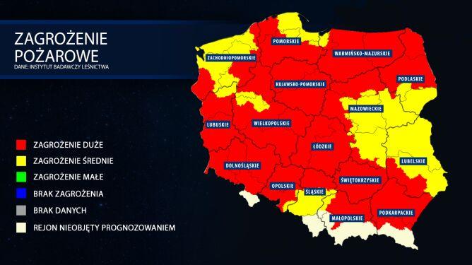 Zagrożenie pożarowe lasów. Prognoza z dnia 26 kwietnia (tvnmeteo.pl za IBL)